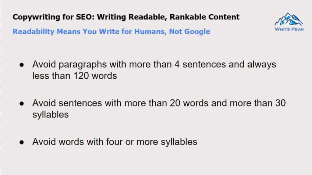 Readability Means You Write For Humans, Not Google