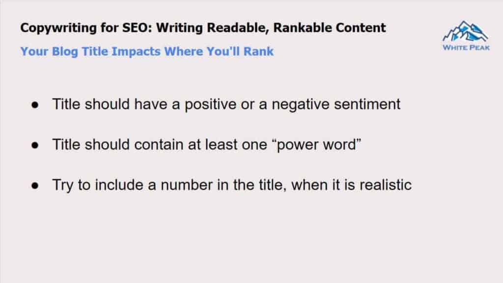 Copywriting For Seo: Blog Post Title