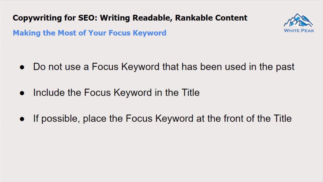 Copywriting For Seo: Focus Keyword
